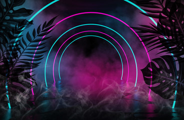 Background of an empty room with brick walls and neon lights. Silhouettes of tropical leaves, colorful smoke Wall mural