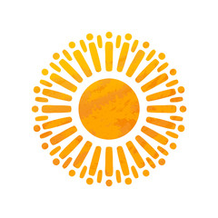 Beautiful Sun With Structure. Hand Drawn.
