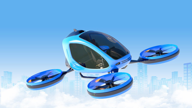 Passenger Drone flying in front of buildings.