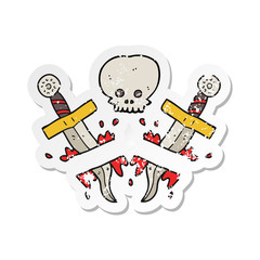 retro distressed sticker of a cartoon dagger tattoo