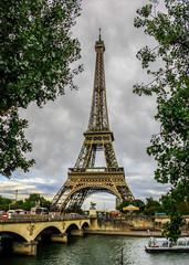 Tour Eiffel on a gloomy day. Paris, France