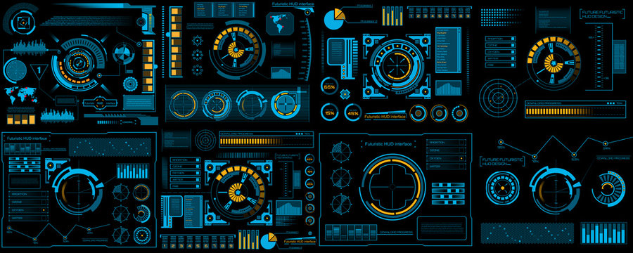 Creative vector illustration of HUD interface elements set, infographics Sci Fi isolated on transparent futuristic background. Art design template. Abstract future concept science virtual graphic