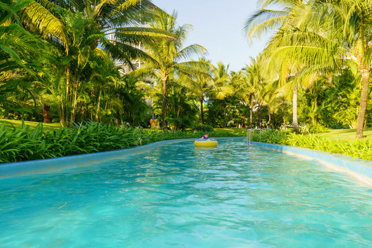 swimming pool in tropical garden