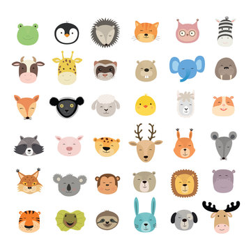 Big set of cute animal faces. Hand drawn characters. Vector illustration.