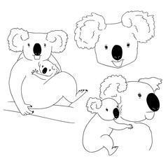 Sketches of cute cartoon koalas with babies on white background. Set of drawn by hand line art of animals. Koala bears vector illustrations simple drawing.