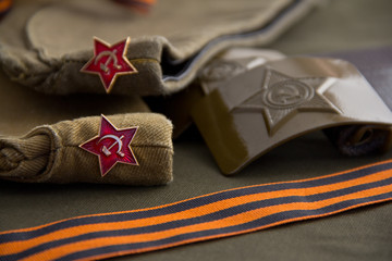 Part of the uniform of the Soviet soldier on the day of victory: forage-cap and St. George ribbon.