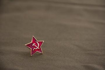 Soviet Union star on fabric background