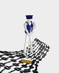 Konzept: Datenträgerbereinigung. 3d Charakter fegt über den Binärcode. Auf weiß isoliert.