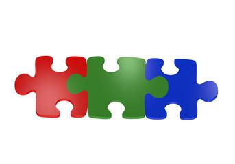 Puzzleteile in rot, grün und blau. Ansicht von oben, auf weiß isoliert.