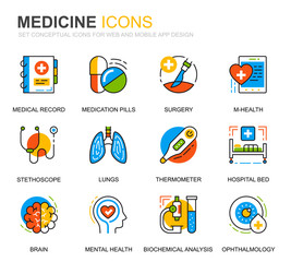 Simple Set Healthcare and Medicine Line Icons for Website and Mobile Apps. Contains such Icons as Doctor, Hospital, Medical Equipment. Conceptual color line icon. Vector pictogram pack.