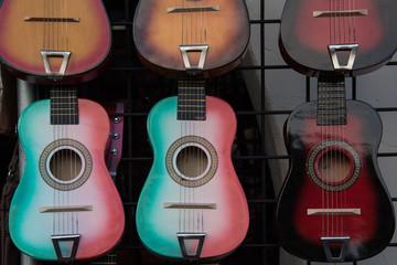toy guitars on display