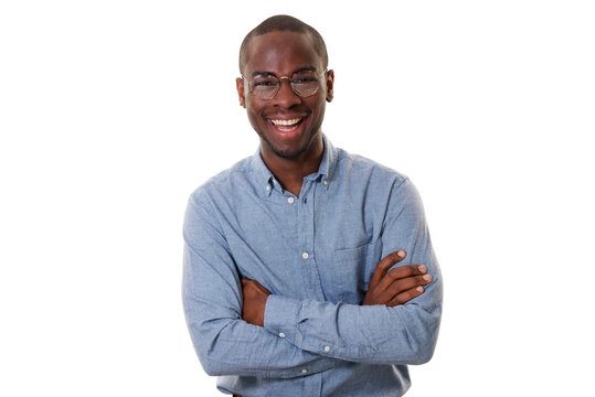 young african american businessman with glasses smiling with arms crossed against isolated white background