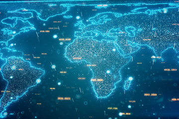 Global world map business concept of communication and information transfer in the world 3d illustration