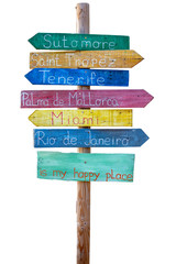 Wooden sign pointers with a space for happy place