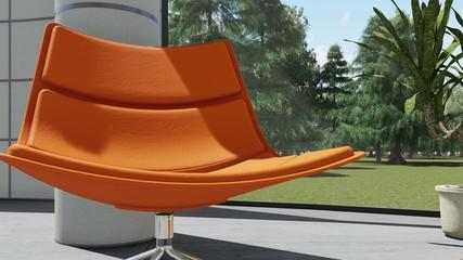 Pomarańczowy fotel