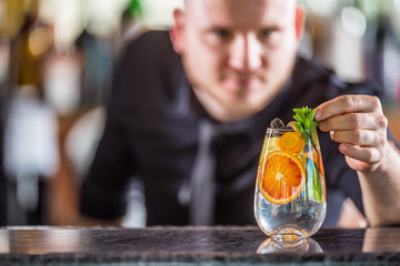 Professional barman decorating gin tonic cocktail drink and decorated it with mint herbs