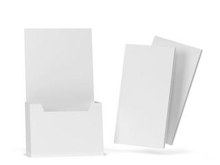 Blank brochure holder mockup