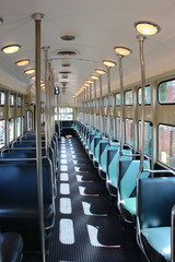 Interior of a old street car type PCC of the HTM in The Hague in the Netherlands from the HOVM museaum making rides in the city