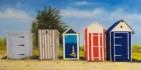 painting beach huts and cabins in nature
