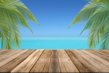 Tropical beach, wooden boards for product display,montage or mockup