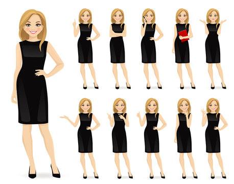 Young beautiful woman in black dress character in different poses set vector illustration