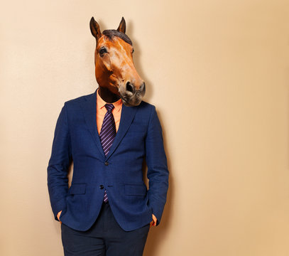 Male horse in office clothing suit and shirt