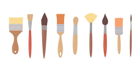 Drawing tools, set paint brushes in row on white isolated background. Artist painting materials.