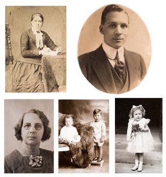 1870-1920. Portraits of English people. Fashion. London. Set of vintage photos.