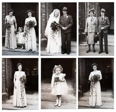 1940s. English wedding style. Portraits of English people during the wedding ceremony. English fashion. London. Set of vintage photos.