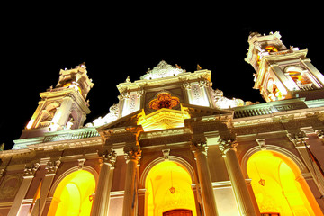 View on the Cathedral Basilica of Salta, Argentina at night