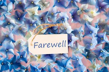 Hydrangea Flat Lay, Text Farewell, Flower Background