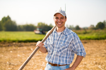 Smiling farmer portrait Wall mural