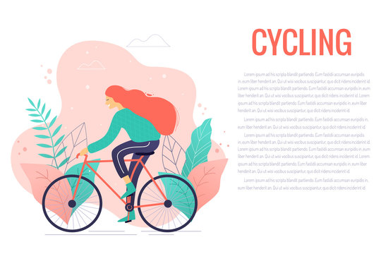 Woman riding a bicycle in park trendy vector illustration.