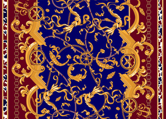 Marine baroque pattern with golden chains, fishes and ships. Vector seamless patch for scarfs, print, fabric.