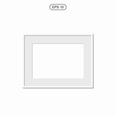 blank picture frame template set isolated on wall. Set of white photo frames. Vector realistic white picture frame composition. Modern design element for you product mock-up or presentation.