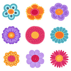 Vector collection of spring flower icons in silhouette isolated on white background.