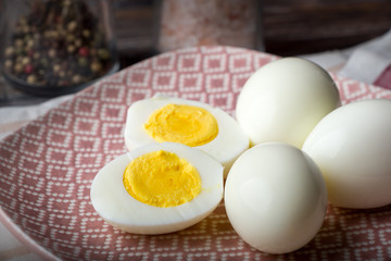Hard boiled eggs on plate