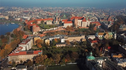 Aerial View of Krakow, Wawel, Royal Castle, Poland,