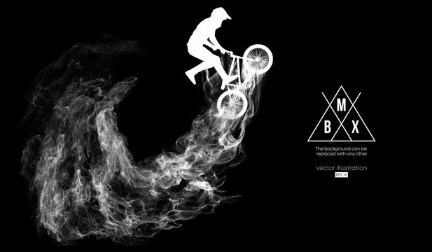 Abstract silhouette of a bmx rider on the dark, black background from particles, dust, smoke, steam. Bmx rider jumps and performs the trick. Background can be changed to any other. Vector illustration