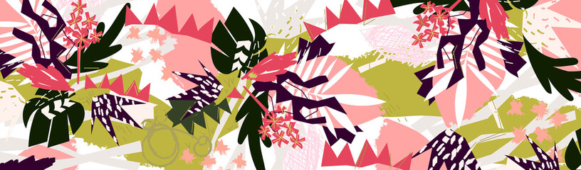 Abstract paper floral elements paper collage desert