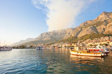 Makarska, Dalmatia, Croatia - Smoke of a wildfire above the mountains of Makarska