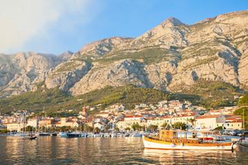 Makarska, Dalmatia, Croatia - An old traditional fishing boat at the harbor of Makarska