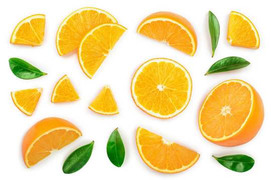 orange with leaves isolated on white background. Top view. Flat lay