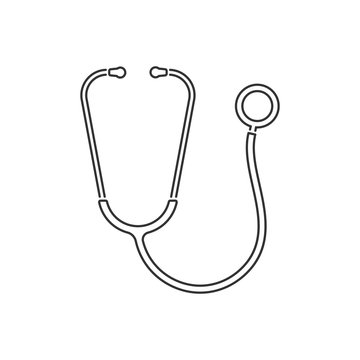Stethoscope line style icon. Vector, isolated.