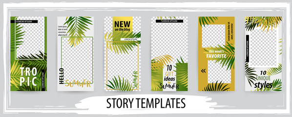 Trendy editable template for social tropical networks stories, vector illustration.