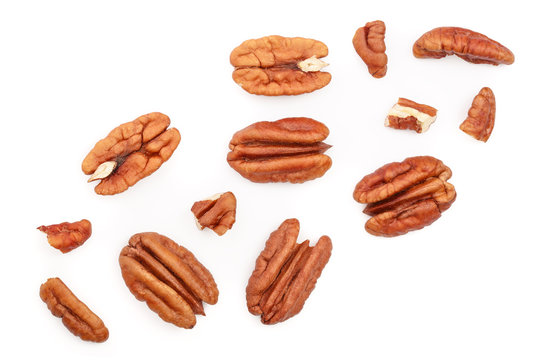 pecan nut isolated on white background. Top view. Flat lay