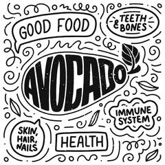 Doodle Poster With Lettering Natural Food Logo Design Sign Banner