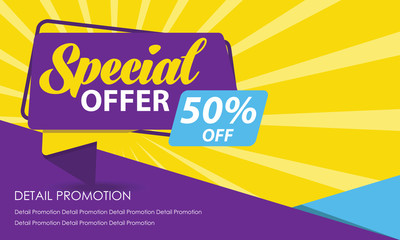 Special Offer Sale Banner Template. Discount Up to 50%. Vector Template Poster Sale Promotion.