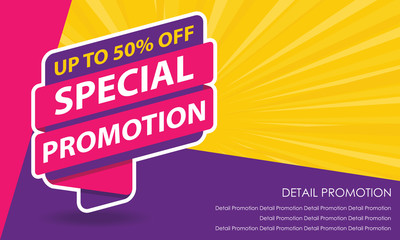 Special Promotion Sale Banner Template. Discount Up to 50%. Vector Template Poster Sale Promotion.