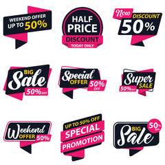 Label Promotion Sale Sticker Template. Discount Up to 50%. Vector Template Sticker Sale Promotion.